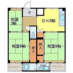 ビレッジハウス加賀田  1[203号室]の間取り