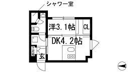 ステーションスクエアさくら通り 1階1DKの間取り