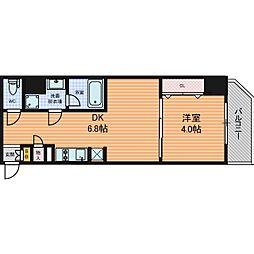 Osaka Metro谷町線 東梅田駅 徒歩5分の賃貸マンション 14階1DKの間取り