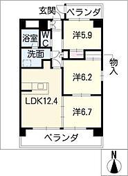 リバーズマンション築捨II[6階]の間取り