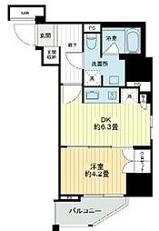 ライオンズ千代田岩本町ミレス 8階1DKの間取り