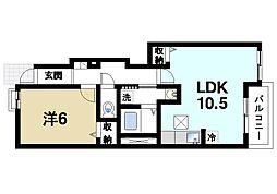 京都府木津川市梅美台2丁目の賃貸アパートの間取り