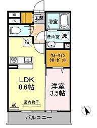 西鉄天神大牟田線 西鉄久留米駅 徒歩15分の賃貸アパート 3階1LDKの間取り