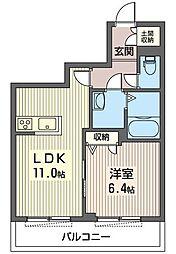 東京メトロ東西線 西葛西駅 徒歩6分の賃貸マンション 2階1LDKの間取り