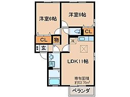京都府京都市伏見区桃山町和泉の賃貸アパートの間取り
