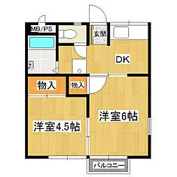 コスモシティ岡野B棟[2階]の間取り