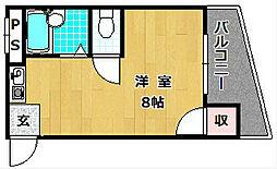 シャンテー甲斐田[4階]の間取り