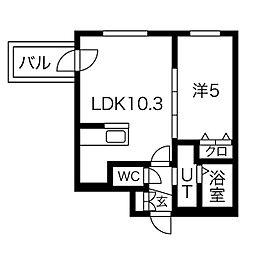 札幌市営南北線 中島公園駅 徒歩13分の賃貸マンション 2階1LDKの間取り