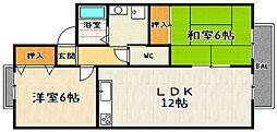 京都府京都市伏見区醍醐合場町の賃貸アパートの間取り