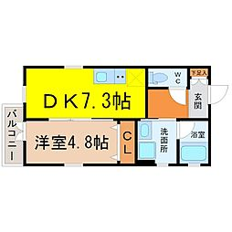 愛知県名古屋市北区八代町2丁目の賃貸アパートの間取り