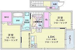 イースト・シップ八番館 2階2LDKの間取り