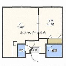 札幌市営南北線 北34条駅 徒歩8分の賃貸アパート 3階1DKの間取り