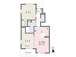 JR京浜東北・根岸線 本郷台駅 徒歩14分の賃貸アパート 1階2LDKの間取り