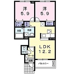 JR小海線 乙女駅 徒歩9分の賃貸アパート 1階2LDKの間取り