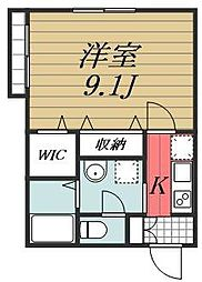JR総武本線 佐倉駅 徒歩3分の賃貸アパート 2階1Kの間取り