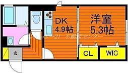 JR津山線 法界院駅 徒歩8分の賃貸アパート 2階1DKの間取り