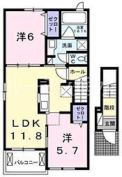 サニーガーデンA[2階]の間取り