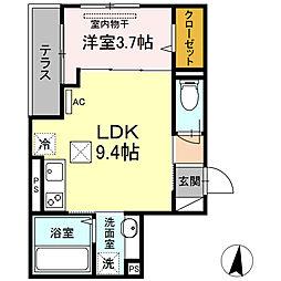 小田急小田原線 登戸駅 徒歩15分の賃貸アパート 1階1LDKの間取り