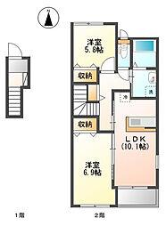 ラ・プレールII[1階]の間取り