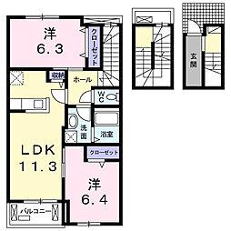 神奈川県大和市上草柳6丁目の賃貸アパートの間取り