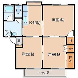 長野県諏訪市高島2丁目の賃貸アパートの間取り
