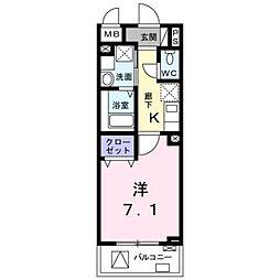 東急東横線 学芸大学駅 徒歩12分の賃貸マンション 3階1Kの間取り