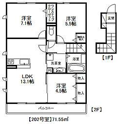 福岡県糸島市篠原の賃貸アパートの間取り