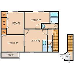 奈良県磯城郡田原本町千代の賃貸アパートの間取り