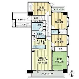 ライオンズプラザ武蔵新城[5階]の間取り