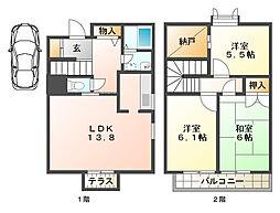 鷲尾ハイツIID棟[1階]の間取り