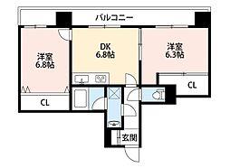 トーカンマンション北九大前[9階]の間取り
