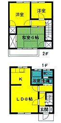 [テラスハウス] 東京都あきる野市伊奈 の賃貸【/】の間取り