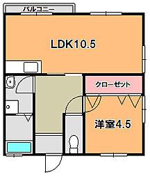 平城山パート3[2階]の間取り
