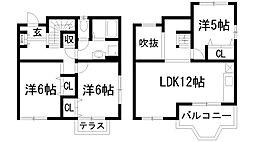 [テラスハウス] 兵庫県伊丹市池尻7丁目 の賃貸【/】の間取り