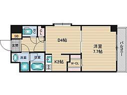アクアスイート新大阪 3階1DKの間取り