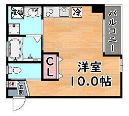 JR東海道・山陽本線 灘駅 徒歩2分の賃貸マンション 1階ワンルームの間取り
