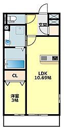 愛知環状鉄道 大門駅 徒歩10分の賃貸アパート 2階1LDKの間取り