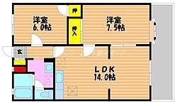 岡山県岡山市南区三浜町1丁目の賃貸アパートの間取り