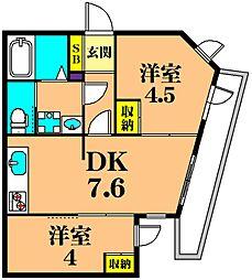 JR京浜東北・根岸線 大井町駅 徒歩8分の賃貸マンション 1階2DKの間取り