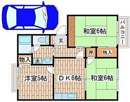 兵庫県神戸市須磨区北落合5丁目の賃貸アパートの間取り