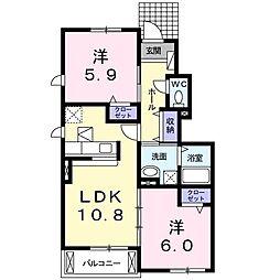 静岡県浜松市中区和合北4丁目の賃貸アパートの間取り