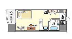 家具・家電付ロマネスク博多駅前 H[3階]の間取り