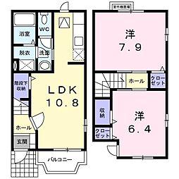 大阪府茨木市安威3丁目の賃貸アパートの間取り