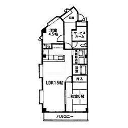ウイングマンション青木[405号室]の間取り