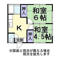 風間アパート[1階]の間取り