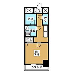 アクアコート大曽根 8階1Kの間取り