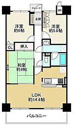 キングマンション守口 4階3LDKの間取り