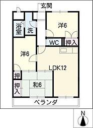 愛知県名古屋市緑区砂田1丁目の賃貸マンションの間取り
