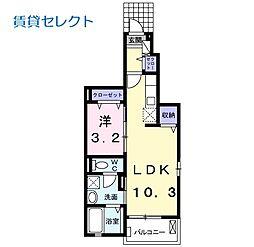 マーベラス 1階1LDKの間取り