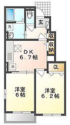 JR山陽本線 上道駅 徒歩17分の賃貸アパート 1階2DKの間取り